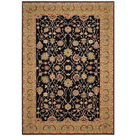 Hand-Knotted Kafkaz Peshawar Rina Black/Lt. Green Wool Rug (12'1 x 17'7) - 12 ft. 1 in. x 17 ft. 7 in.
