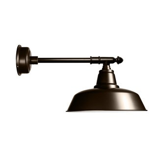 """14"""" Goodyear LED Barn Light with Victorian Arm in Mahogany Bronze"""