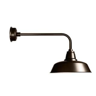 "14"" Goodyear LED Barn Light with Traditional Arm in Mahogany Bronze"