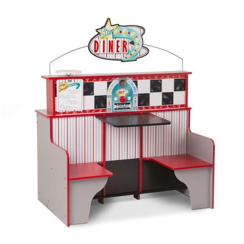 "Melissa & Doug Star Diner Restaurant (Play Set & Kitchen, Wooden Diner Play Set, Two Play Spaces in One, 35""H x 23""W x 43.5""L)"