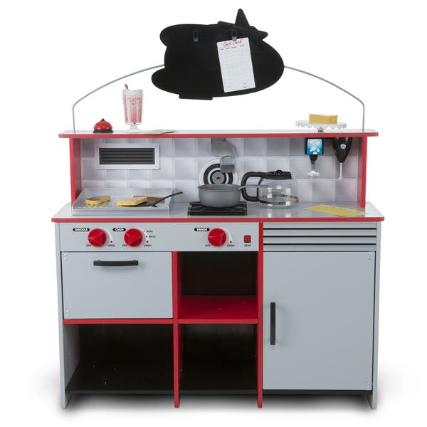 Melissa Doug Star Diner Restaurant Play Set Kitchen Wooden Diner Play Set Two Play Spaces In One 35 H X 23 W X 43 5 L Overstock 16682879