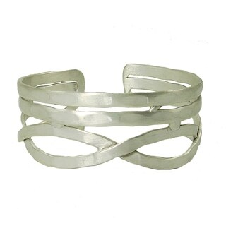 Handcrafted Brass Nest Cuff - Silvertone
