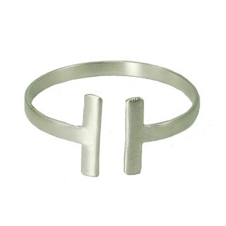 Handcrafted Brass Perpendicular Cuff - Silvertone