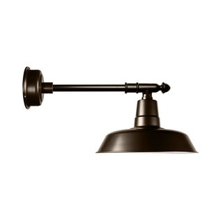 """16"""" Goodyear LED Barn Light with Victorian Arm in Mahogany Bronze"""