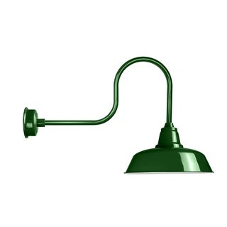 "16"" Goodyear LED Barn Light with Industrial Arm in Vintage Green"