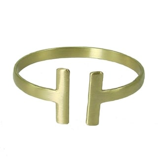 Handcrafted Brass Perpendicular Cuff - Goldtone