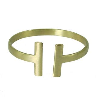 Handcrafted Brass Perpendicular Cuff - Goldtone|https://ak1.ostkcdn.com/images/products/16682930/P23002255.jpg?impolicy=medium