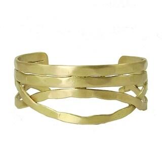 Hancrafted Brass Nest Cuff - Goldtone