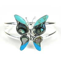 Handmade Turquoise & Abalone Butterfly Small Cuff Bracelet (Mexico)