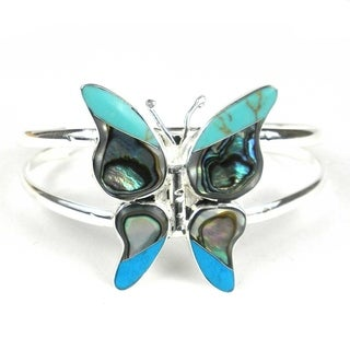 Handcrafted Turquoise & Abalone Butterfly Small Cuff Bracelet (Mexico)
