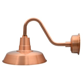 "12"" Oldage LED Barn Light with Vintage Arm in Solid Copper"