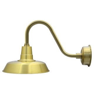 "14"" Oldage LED Barn Light with Rustic Arm in Solid Brass"