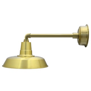 "14"" Oldage LED Barn Light with Metropolitan Arm in Solid Brass"
