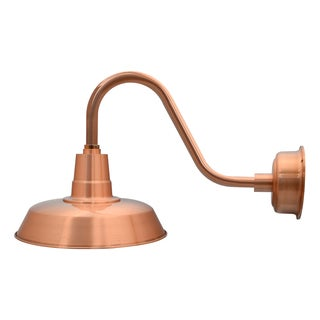 """14"""" Oldage LED Barn Light with Rustic Arm in Solid Copper"""