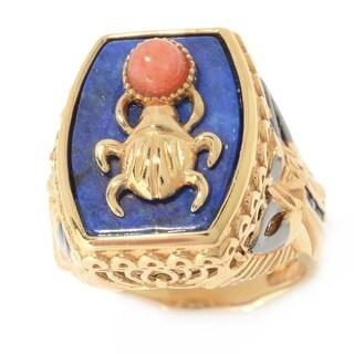 Michael Valitutti Palladium Silver Cleopatra Lapis, Red Jade & Blue Sapphire Scarab Beetle & Pharaoh Ring