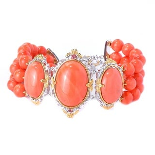 Michael Valitutti Palladium Silver Salmon Bamboo Coral & Orange Sapphire Beaded Three-Row Toggle Bracelet