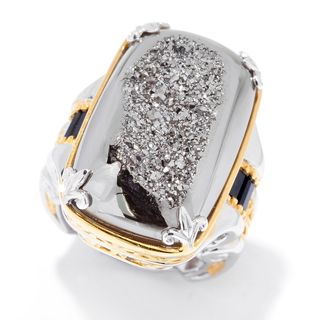 Michael Valitutti Palladium Silver Window Drusy & Black Spinel Ring
