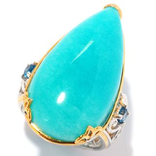 Michael Valitutti Palladium Silver Amazonite & London Blue Topaz Pear Shaped Ring