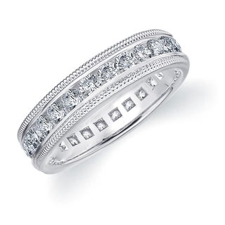 Amore 10K White Gold 1.5 CTTW Milgrain Eternity Diamond Wedding Band