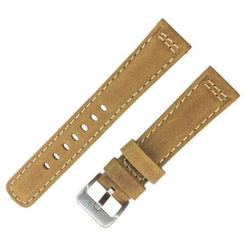 Dakota Light Brown Genuine Leather, Padded Watch Band with White Stitching (20mm, 22mm, 24mm, 26mm, 28mm)