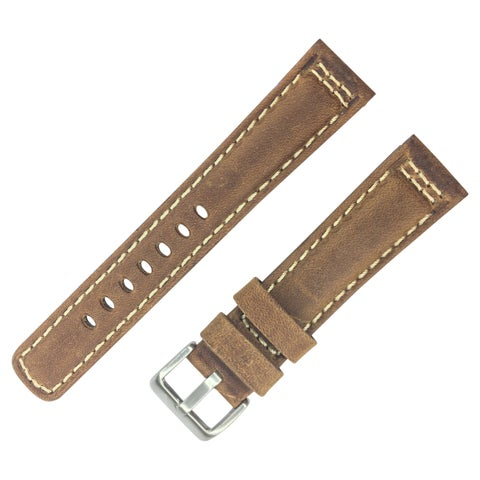 Dakota Brown Genuine Leather, Padded Watch Band with White Stitching (20mm, 22mm, 24mm, 26mm, 28mm)