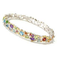"Michael Valitutti Palladium Silver Multi Gemstone ""Carnaval"" Hinged Bangle Bracelet"