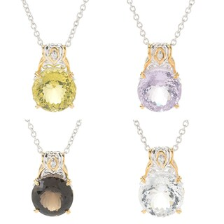 Michael Valitutti Palladium Silver Round Fancy Faceted Gemstone Pendant (4 options available)