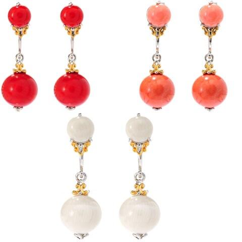 Michael Valitutti Palladium Silver Bamboo Coral Stud Earrings w/ Jackets