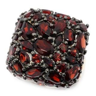 Michael Valitutti Palladium Silver Multi Shape Garnet Cluster Cushion Top Ring
