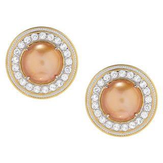 Michael Valitutti Palladium Silver Golden Mabe Cultured Pearl & White Topaz Earrings