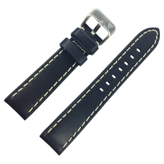 Dakota Oil Tanned, Black Genuine Leather, Padded Watch Band with Heavy White Stitching (20mm, 22mm, 24mm, 26mm, 28mm)