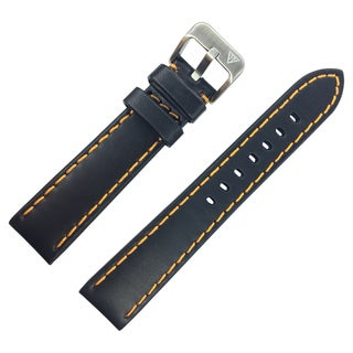 Dakota Oil Tanned, Black Genuine Leather, Padded Watch Band with Heavy Orange Stitching (20mm, 22mm, 24mm, 26mm, 28mm)