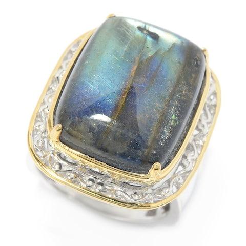 Gems en Vogue Palladium Silver Labradorite Doublet Cocktail Ring