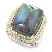Michael Valitutti Palladium Silver Labradorite Doublet Cocktail Ring