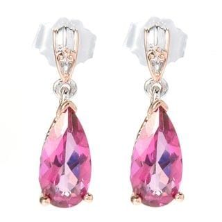 Michael Valitutti Palladium Silver Pear Shaped Pink Topaz Drop Earrings