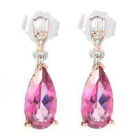 Michael Valitutti Palladium Silver Pear Shaped Pink Topaz Drop Earrings