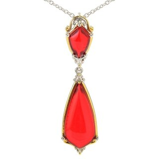Michael Valitutti Palladium Silver Teardrop Shaped Red Amber Pendant