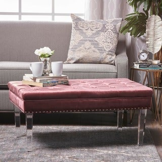 Colonel New Velvet Ottoman by Christopher Knight Home