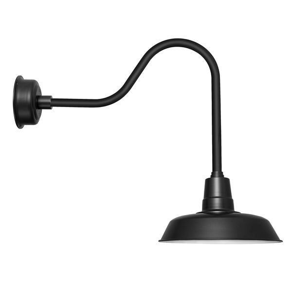 "12"" Oldage LED Barn Light with Sleek Arm in Matte Black"