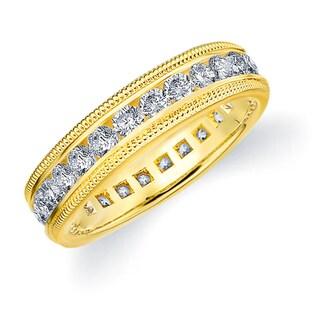 Amore 14K Yellow Gold 1.50 CTTW Milgrain Eternity Diamond Wedding Band
