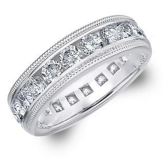 Amore 14K White Gold 3.0 CTTW Milgrain Eternity Diamond Wedding Band - White H-I
