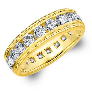 Amore 14K Yellow Gold 3.0 CTTW Milgrain Eternity Diamond Wedding Band - White H-I