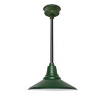 "12"" Calla LED Pendant Light in Vintage Green with Black Downrod"