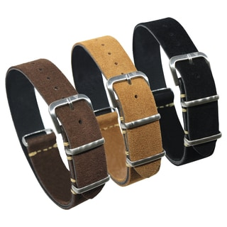 Dakota One Strap, Italian Leather Suede-look  Watch Band in Chocolate Brown, Tan or Black (18mm, 20mm, 22mm)
