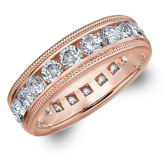 Amore 14K Rose Gold 3.0 CTTW Milgrain Eternity Diamond Wedding Band - White H-I