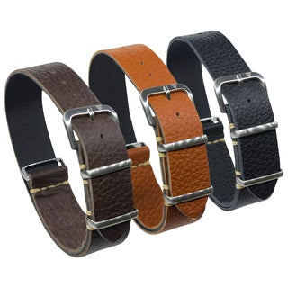 Dakota One Strap, Italian Leather Watch Band in Brown , Rust Brown or Black (18mm, 20mm, 22