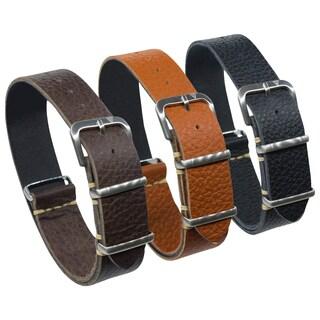 Dakota One Strap, Italian Leather Watch Band in Brown , Rust Brown or Black (18mm, 20mm, 22