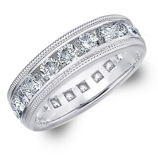 Amore Platinum 3.0 CTTW Milgrain Eternity Diamond Wedding Band - White G