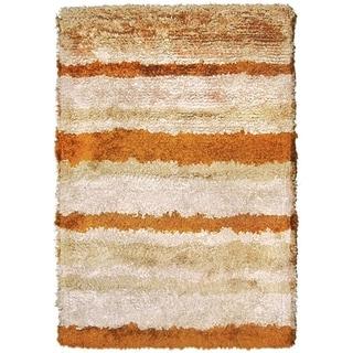 The Rug Market Beige/Rust Wool/Silk Handmade Area Rug (5' x 8')