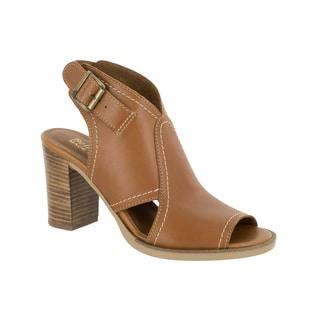 Bella Vita Women's Viv-Italy Whiskey Italian Leather Open-toe Stacked Heel Sandals